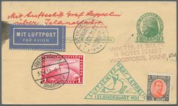 Zeppelinpost Deutschland: 1931, Si. 113 A, ISLANDFAHRT-KURIOSUM: USA 1 C. Ga-Karte Mit DR. 1 Mk. Zep - Luftpost