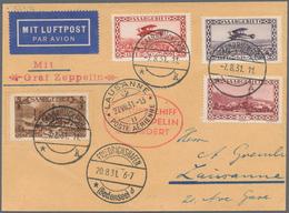 Zeppelinpost Deutschland: 1931, Saar/Lausanne-Fahrt: Luxus-Abwurfkarte, Portorichtig Mit 4 Marken (S - Luftpost