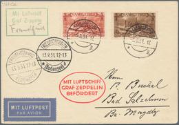 Zeppelinpost Deutschland: 1931, SAAR/FRANKFURT-FAHRT: Luxus-Vertragsstaatenkarte, Mi. 119+121 Friedr - Luftpost