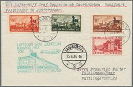 Zeppelinpost Deutschland: 1933, SAAR-RUNDFAHRT Luxusbrief M. Katastrophe Neunkirchen, Mi. 435€. - Luftpost