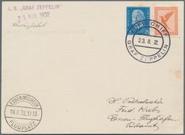 """Zeppelinpost Deutschland: 1932, 2. SCHWEIZFAHRT, Bordpostkarte, 23.8.32, Mit Ankunftsstempel """"ESSEN/ - Luftpost"""