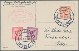 Zeppelinpost Deutschland: 1932. German Zeppelin In Flight Postcard Dropped From The Graf Zeppelin LZ - Luftpost