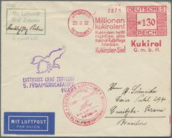 Zeppelinpost Deutschland: 1932, LZ 127 / 5. SAF 1932 / Anschlußflug BERLIN: Wunderbarer Freistempler - Luftpost