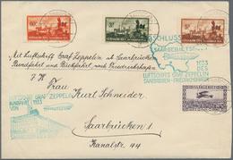 Zeppelinpost Deutschland: 1933, SAAR / SAARGEBIETSFAHRT: Luxusbrief Der Rundfahrt Und Rückfahrt Nach - Luftpost