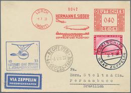 Zeppelinpost Deutschland: LZ 127/3. SAF 1933, Luxuskarte Mit Sieger 40Pf. Zeppelinbild-Freistempler - Luftpost