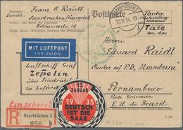 Zeppelinpost Deutschland: 1934. High Values (1.5,2,5Fr) Of The 1934 Volkshilfe / Welfare Issue On 19 - Luftpost