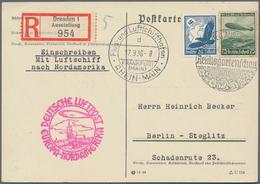 Zeppelinpost Deutschland: 1936, LZ 129 / 8. NAF: DRESDEN REICHSGARTENSCHAU Als Benennenswerte Dt. Be - Luftpost