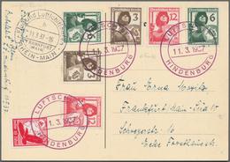 """Zeppelinpost Deutschland: 1937, UDET-FAHRT: HINDENBURG """"Musiksalon""""-Bildkarte Als Bordpost Mit Selte - Luftpost"""