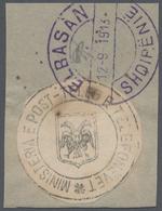 Albanien: 1913, 1 Pia Black Handstamp 'Ministeria E Post Teleg E Telefonevet', Round Cut-out, Tied B - Albanien