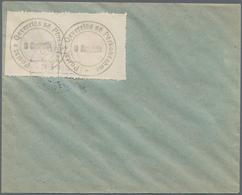 Albanien: 1913, Handstamped Label Issue, 1pi. Black Rouletted, Left Marginal Pair On Unaddressed Env - Albanien