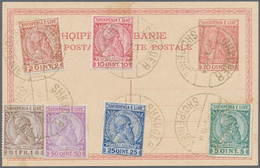 Albanien: 1913, 2 Q Red-brown/yellow And 10 Q To 1 Fr Dark-brown/brown On 10 Q Red Postal Stationery - Albanien