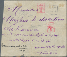 Albanien: 1913, 20 Pa Rose 'double Eagle', Horizontal Strip Of 4, Tied By Violet Cds BERAT/SHQIPENIE - Albanien