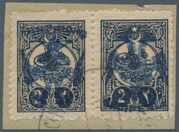Albanien: 1913, 8 K Pair With Blue Overprint Cancelled On Piece, Signed Holcombe, (ca. 2.000.-) - Albanien