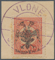 """Albanien: 1913, 10 Pia Brick-red With """"VLONE"""" Cancel On Piece, Low Patina, Double Signed Droese (lat - Albanien"""