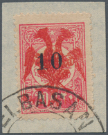 Albanien: 1913. 10pa On 20pa Pink With Red Double-headed Eagle Imprint. On Piece. Certificate Schell - Albanien