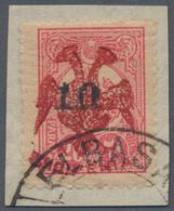 "Albanien: 1913, Double Headed Eagle Overprints, Revaluation ""10"" On 20pa. Rose With RED EAGLE OVERPR - Albanien"