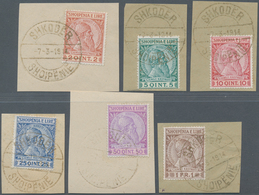 Albanien: 1913, 2 Q Red-brown/yellow To 1 Fr Dark-brown/brown On Pieces, All With Gold Cancel (1.000 - Albanien