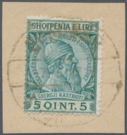 Albanien: 1913, 2 Q Red-brown/yellow And 10 Q To 1 Fr Dark-brown/brown On 5 Q Green Postal Stationer - Albanien