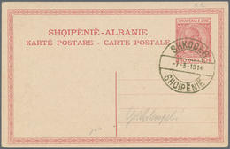 Albanien: 1913, 5 Q Green On Souvenir Postcard + 10 Q Red Postal Stationery Card Each With Gold Canc - Albanien