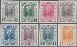 Albanien: 1914, Prince William Of Wied, 1 Q Grey To 1 Fr Blue-grey, 7 IMPERFORATED Proofs In The Sam - Albanien
