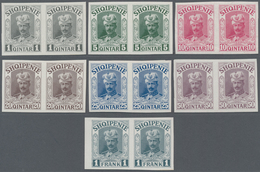 Albanien: 1914, Prince William Of Wied, 1q.-1fr., Complete Set Of Seven Values In Imperforate Proof - Albanien