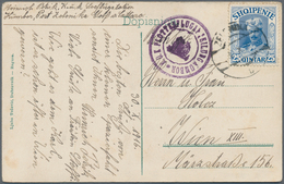 Albanien: 1914, 25 Q Blue 'Prince William Of Wied', Tied By Cds ZELENIKA, 31.10.1916, Single Frankin - Albanien
