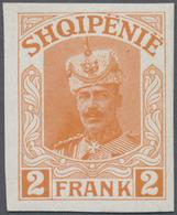 Albanien: 1914, Prince William Of Wied, 2fr. Orange, Imperforate Proof On Gummed Paper (fingerprints - Albanien