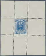 """Albanien: 1914. Lot Of 3 Perforated Single Printings For Unissued Stamp """"5 Q Wilhelm"""" In Blue, Green - Albanien"""