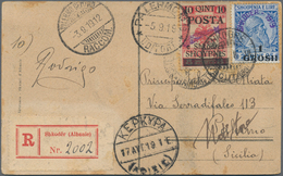 Albanien: 1919, 10q. On 8h. Rose In Combination With Local Shkoder Issue 1gr. On 25q. Blue On Regist - Albanien
