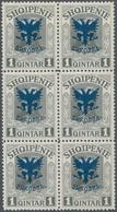 Albanien: 1920, Prince William Of Wied 1q. Grey With Blue Opt. 'SHKODRA' Block Of Six, Mint Never Hi - Albanien