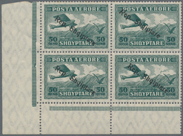 """Albanien: 1927, 50 Q, 1 F And 2 F Airmail Stamps With Ovp """"Rep.Shqiptare"""", 3 Lower Left Corner Block - Albanien"""