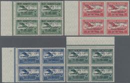 Albanien: 1928, Airmails, 5q.-3fr., Complete Set Of Seven Values In Marginal Blocks Of Four, Mint Ne - Albanien
