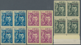 Albanien: 1962, 0,50d L To 11 L Overprint Stamps In Blocks Of Four And Likewise With Double Overprin - Albanien