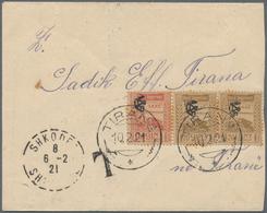 """Albanien - Portomarken: 1921, Unfranked Letter From """"SHKODER 6.2.21"""" To Tirana With Arrival Mark 7.2 - Albanien"""