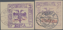 Albanien - Lokalausgaben: KORCE, Albanian Military Mail Provisionals, 1914, 10 Pa Red On Violet And - Albanien