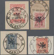 Albanien - Lokalausgaben: KORYTSA French Administration, 1916, Eagle & Surcharges Issue, 4 Different - Albanien