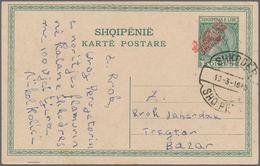 Albanien - Lokalausgaben: SHKODER: 1915, Red 4line Overprint On Stationery Card 5q. Green, Postmarke - Albanien