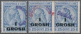 Albanien - Lokalausgaben: SHKODER: 1919, 1gr. On 25q. Blue, Single Stamp With VERTICAL Surcharge Plu - Albanien