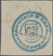 Albanien - Lokalausgaben: TEPELENA, 1914, 1 GROSH Violet On Fragment (used As Stamp) With Official H - Albanien