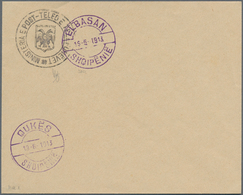 Albanien - Ganzsachen: 1913, (1 Gr) Official Seal 'Ministeria E Post Teleg E Telefonevet' With 'Doub - Albanien