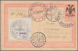 Albanien - Ganzsachen: 1913, Double Headed Eagle Overprints, Stationery Card 20pa. Red On Cream Upra - Albanien