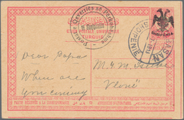 Albanien - Ganzsachen: 1913, 20 Pa Red On Buff Postal Stationery Card With Black Ovp SHQIPENIA And E - Albanien