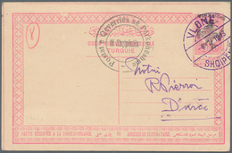 Albanien - Ganzsachen: 1913, 20 Pa Red On Buff Postal Stationery Card With INVERTED Black Ovp SHQIPE - Albanien