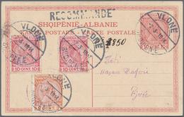 Albanien - Ganzsachen: 1913, 10 Q Red 'Skanderbeg' Postal Stationery Card, Uprated With 2 Q And 2 X - Albanien