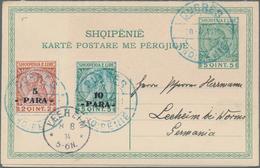 Albanien - Ganzsachen: 1913, 5 Q/5Q Green Postal Stationery Double Postcart With Additional Franking - Albanien