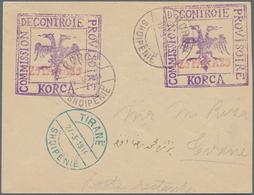 Albanien - Ganzsachen: KORCE, 1914, Stationery Envelope Bearing DOUBLE Imprint 25 Pa Red On Violet, - Albanien