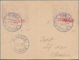 Albanien - Ganzsachen: KORCE, 1914, Stationery Envelope Bearing BOTH Imprints 10 Pa Red On Violet An - Albanien