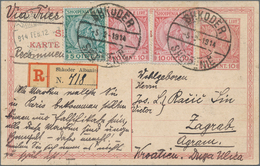 Albanien - Ganzsachen: 1914, Stationery Card Skanderberg 10q. Red Uprated By 5q. Green And Two Copie - Albanien