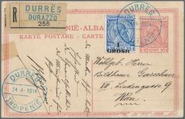 Albanien - Ganzsachen: 1914, 10 Q Red 'Skanderbeg' Postal Stationery Card Uprated With 1 Gr On 25 Q - Albanien