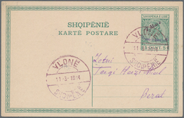 Albanien - Ganzsachen: 1914, Prince William's Arrival, Stationery Cards 5q. Green And 10q. Red Postm - Albanien